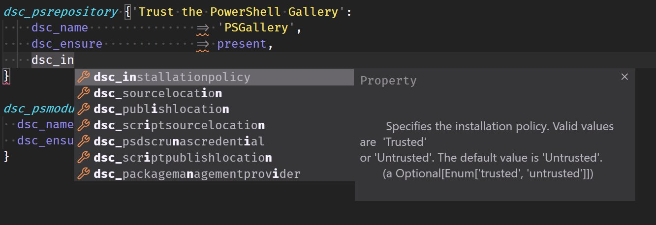 Image displaying intellisense capabilities of the VSCode extension where it is predicting which parameters to use and displaying their help information inline in the editor.